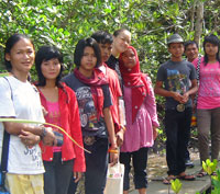 Andaman Discoveries Co Director, P'Tui with the Youth and CBT Group learning about the mangrove eco systems in Koh Yao Noi