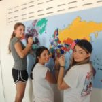 Painting a world map, Study Trip from USA
