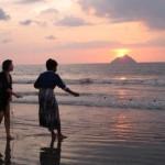 Fishing during sunset