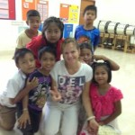 Volunteer Caroline with the Tung Rak students