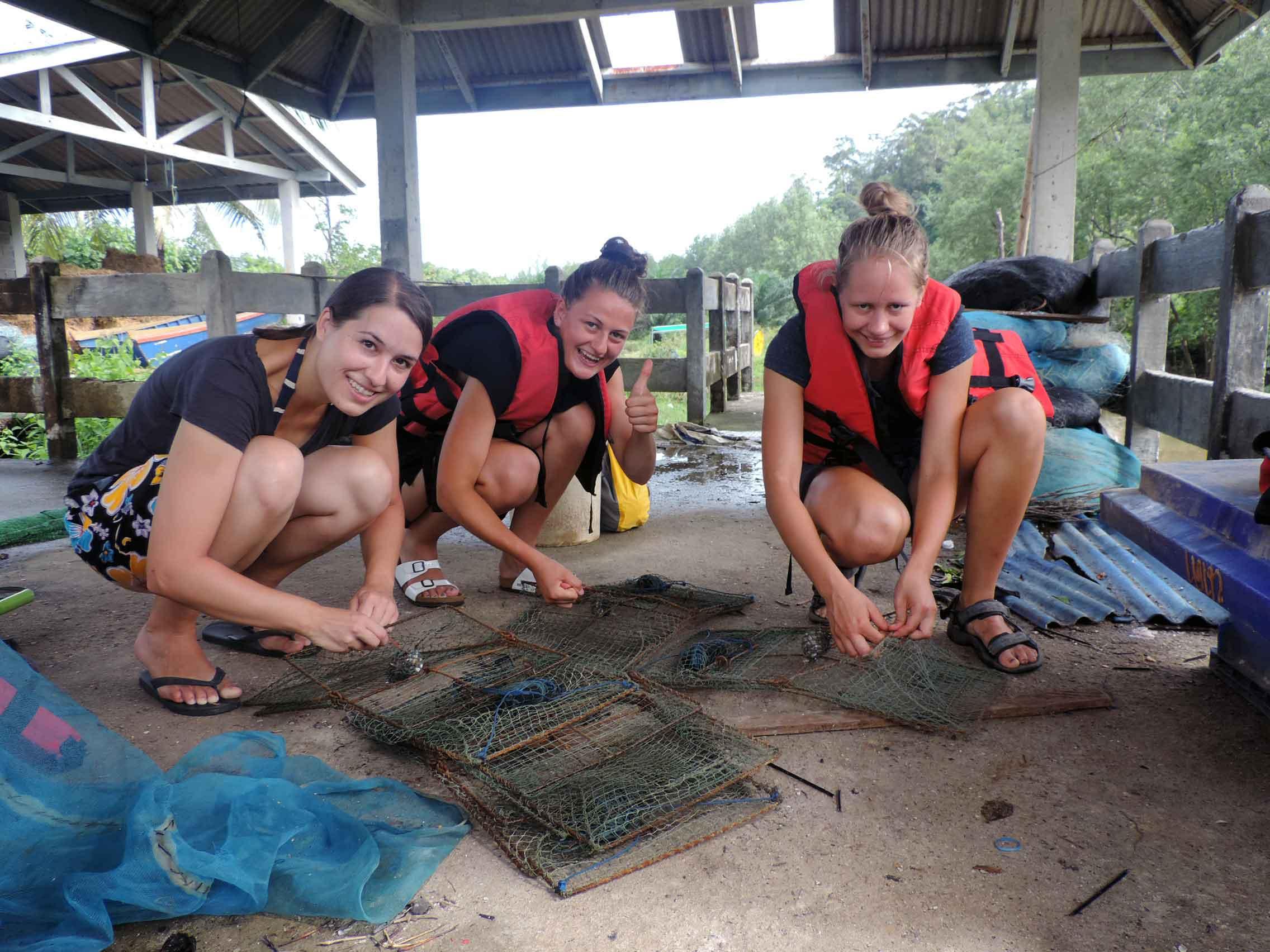 Preparing crab traps for mangrove tour